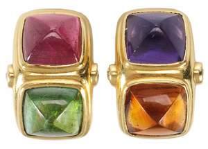 18kt. Gemstone & Diamond Earclips
