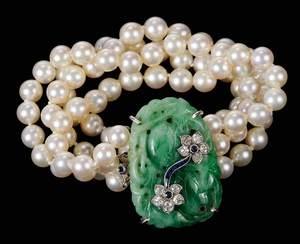 14kt. Diamond, Jade & Pearl Bracelet
