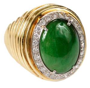 18kt. Jade & Diamond Ring