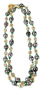 18kt. Pearl, Emerald & Moonstone Necklace