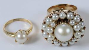 Two 14kt. Pearl Rings