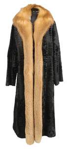 Black Broadtail Coat with Fox Trim and Muff