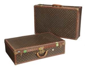 Pair of Louis Vuitton Hard Sided Travel Trunks