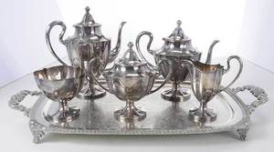 Silver-Plate Five Piece Tea Service, Tray
