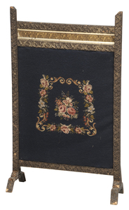 Victorian Needlework Fireplace Screen