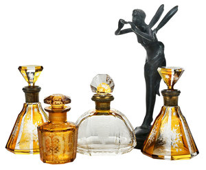 Four Amber Glass Perfumes and Fairy Bronze