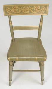 Pair American Classical Painted Side Chairs