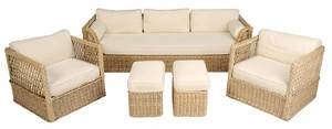 Wicker and Upholstered Five Piece Patio Set