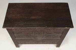 Rare New England Pilgrim Century Carved Chest