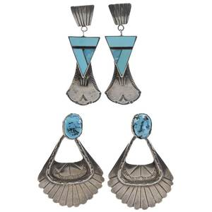 Two Pairs Southwestern Silver Earrings