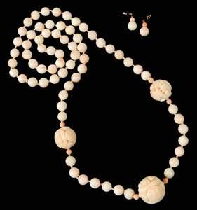 Angel Skin Coral Necklace & Earrings