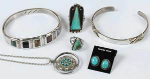 Six Pieces Southwestern Turquoise Jewelry