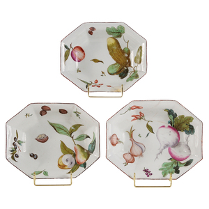 Three Chelsea Octagonal Dishes