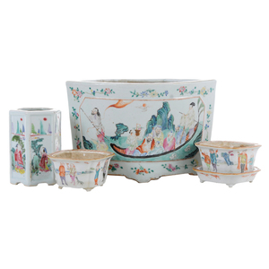 Three Chinese Export Porcelain Planters, Vase