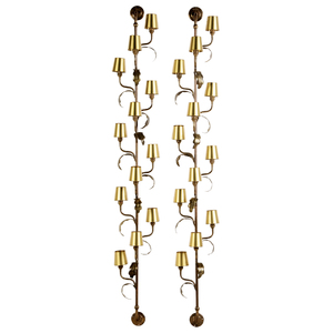 Pair of Brass Vine Form Wall Mounted Twelve Light Sconces