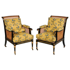 Pair of Regency Ebonized and Parcel Gilt Caned Armchairs