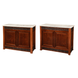 Pair German Neoclassical Mahogany Cabinets