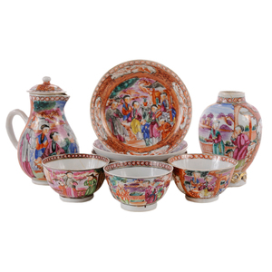 Ten Mandarin Famille Rose Table Items