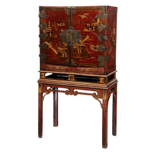 William and Mary Red Japanned and Brass Mounted Chest on Later Stand