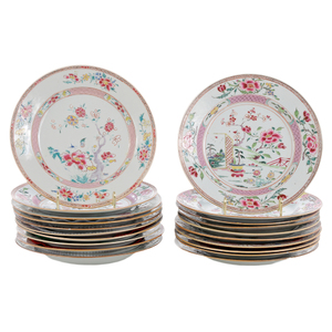 Twenty Chinese Export Famille Rose Plates