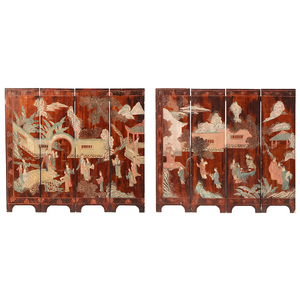 Pair of Chinese Laquered Floor Screens