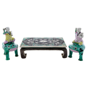 Chinese Porcelain Miniature Table With Two Frog Figures