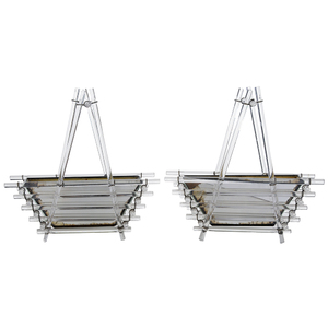 Pair Glass Basket Form Planters