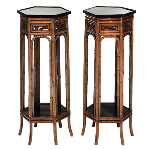 Pair Regency Bamboo and Ebonized Six Sided Urn Stands