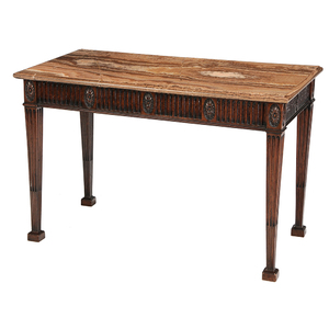 George III Style Carved Mahogany Marble Top Console Table