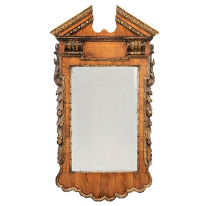 George II Walnut and Parcel Gilt Mirror
