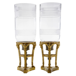 Pair Empire Style Gilt-Bronze and Cut Glass Candleholders