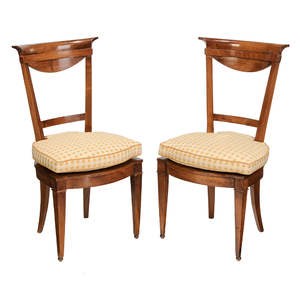 Pair Biedermeier Fruitwood Caned Side Chairs