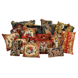 Group of Nineteen Tapestry Pillows