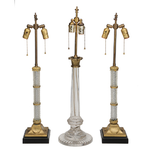 Group of Three Glass and Brass Table Lamps