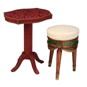 Venetian Style Carved and Polychromed Stool Together with Fabric Upholstered and Brass Studded Side Table