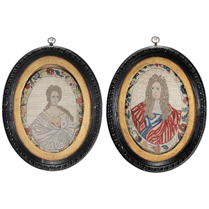 Pair 17th Century Embroidered Portraits