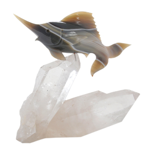 Agate Carving Of A Marlin, Rock Crystal Base