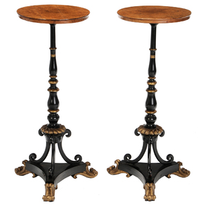 Pair Regency Style Burlwood, Parcel Gilt and Ebonized Stands