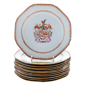 Set of Twelve Chinese Export Porcelain Armorial Plates