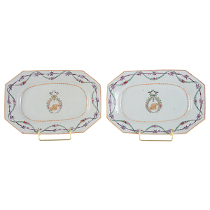 Pair Chinese Export Armorial Platters
