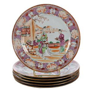 Set of Six Chinese Export Porcelain Mandarin Plates