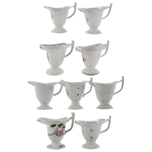 Group of Nine Chinese Export Porcelain Helmut Creamers