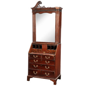 George III Carved and Figured Mahogany Desk and Bookcase