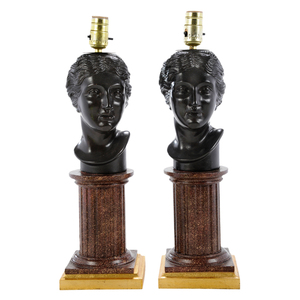Pair Composition Figural Lamps