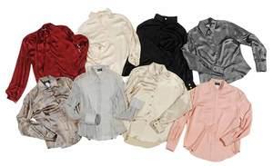 Eight Designer Long Sleeve Silk Blouses