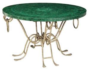 Art Deco Style Malachite and Silvered Iron Table