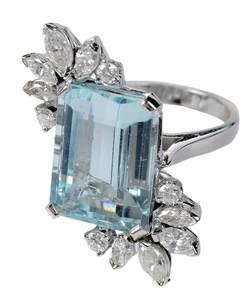 14kt. Aquamarine & Diamond Ring
