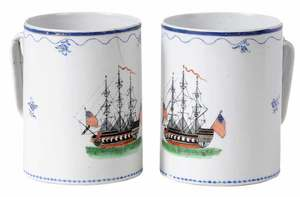 Pair Chinese Export Mugs for The American Market