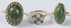 Three Gold & Gemstone Rings