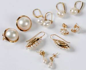 Six Pairs 14kt. Pearl Earrings